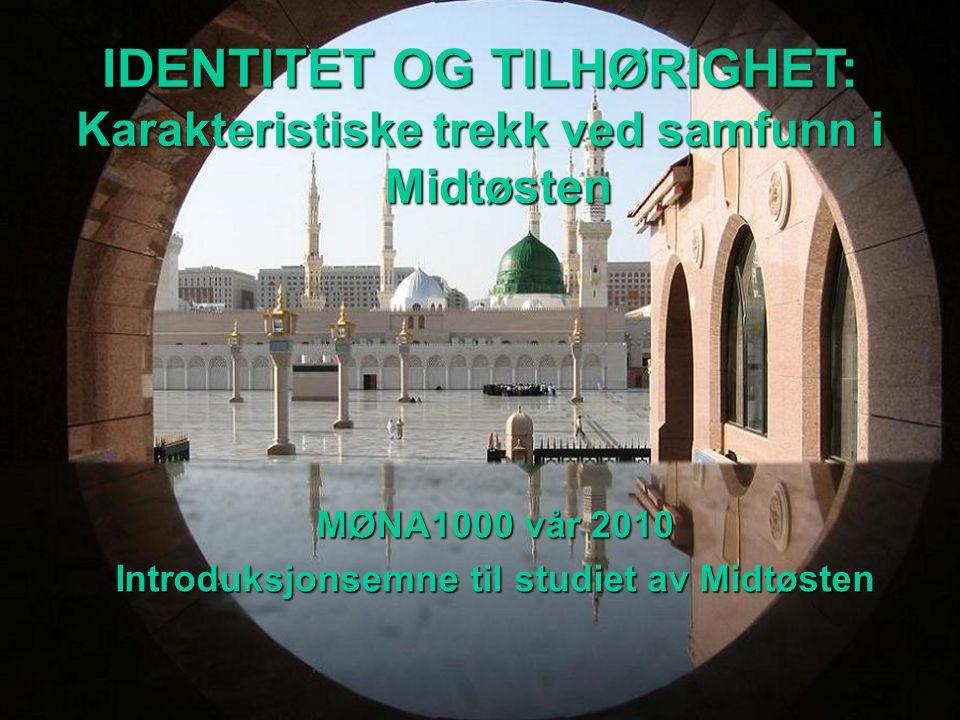 MØNA1000 vår 2010 Introduksjonsemne til studiet av Midtøsten IDENTITET OG TILHØRIGHET: Karakteristiske trekk ved samfunn i Midtøsten