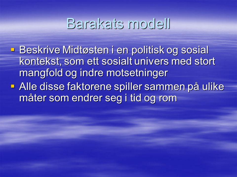 Barakats modell  Beskrive Midtøsten i en politisk og sosial kontekst, som ett sosialt univers med stort mangfold og indre motsetninger  Alle disse faktorene spiller sammen på ulike måter som endrer seg i tid og rom