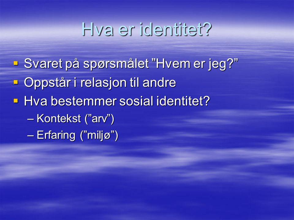 """Hva er identitet?  Svaret på spørsmålet """"Hvem er jeg?""""  Oppstår i relasjon til andre  Hva bestemmer sosial identitet? –Kontekst (""""arv"""") –Erfaring ("""
