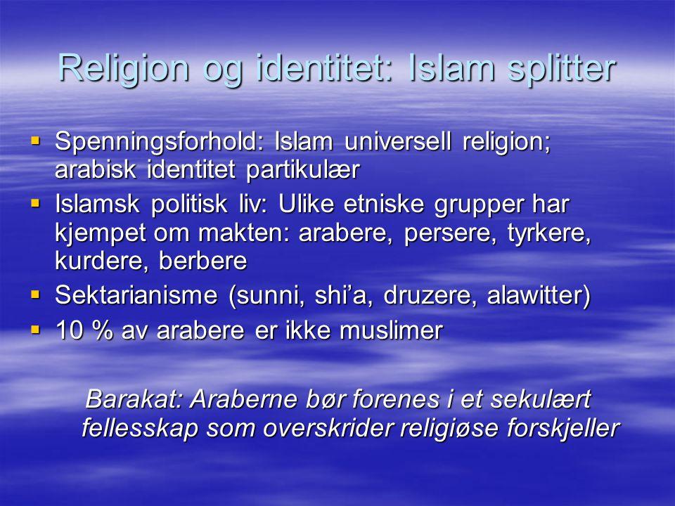 Religion og identitet: Islam splitter  Spenningsforhold: Islam universell religion; arabisk identitet partikulær  Islamsk politisk liv: Ulike etniske grupper har kjempet om makten: arabere, persere, tyrkere, kurdere, berbere  Sektarianisme (sunni, shi'a, druzere, alawitter)  10 % av arabere er ikke muslimer Barakat: Araberne bør forenes i et sekulært fellesskap som overskrider religiøse forskjeller