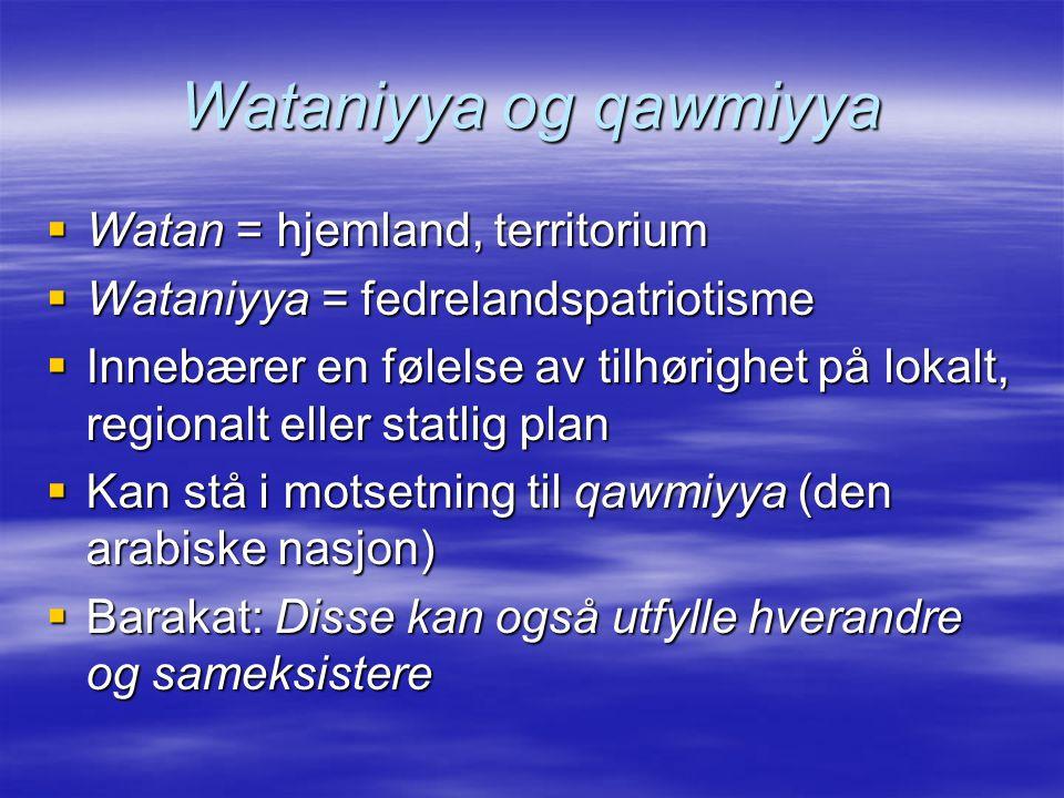 Wataniyya og qawmiyya  Watan = hjemland, territorium  Wataniyya = fedrelandspatriotisme  Innebærer en følelse av tilhørighet på lokalt, regionalt eller statlig plan  Kan stå i motsetning til qawmiyya (den arabiske nasjon)  Barakat: Disse kan også utfylle hverandre og sameksistere