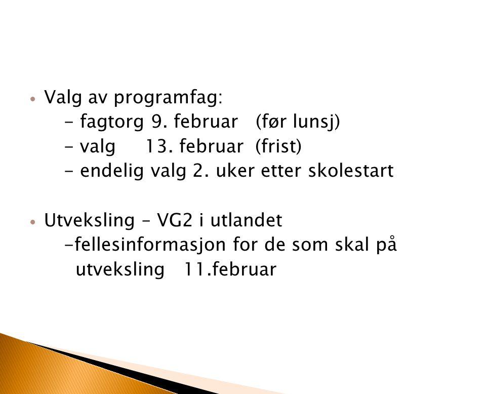 Valg av programfag: - fagtorg 9. februar (før lunsj) - valg 13. februar (frist) - endelig valg 2. uker etter skolestart Utveksling – VG2 i utlandet -f
