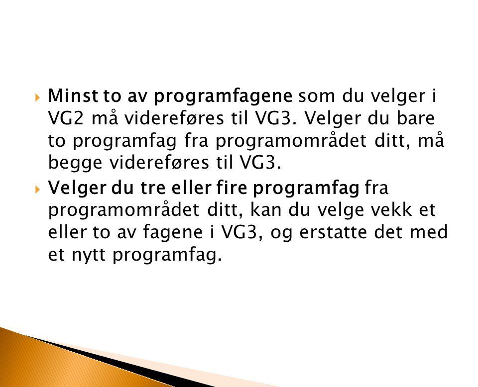  Minst to av programfagene som du velger i VG2 må videreføres til VG3. Velger du bare to programfag fra programområdet ditt, må begge videreføres til