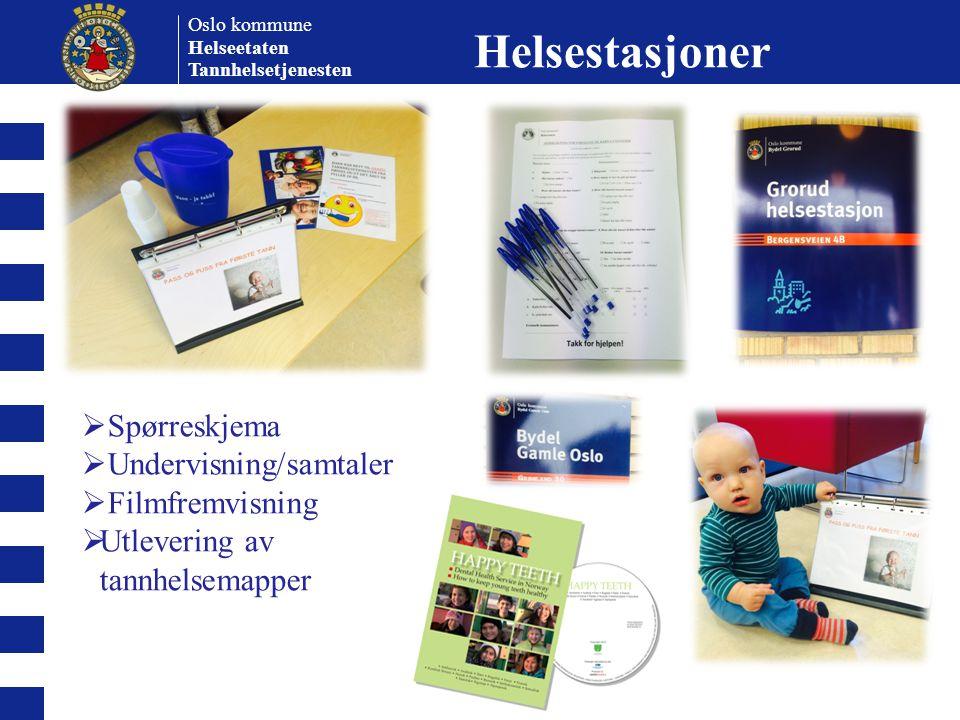 Oslo kommune Helseetaten Tannhelsetjenesten  Spørreskjema  Undervisning/samtaler  Filmfremvisning  Utlevering av tannhelsemapper Helsestasjoner