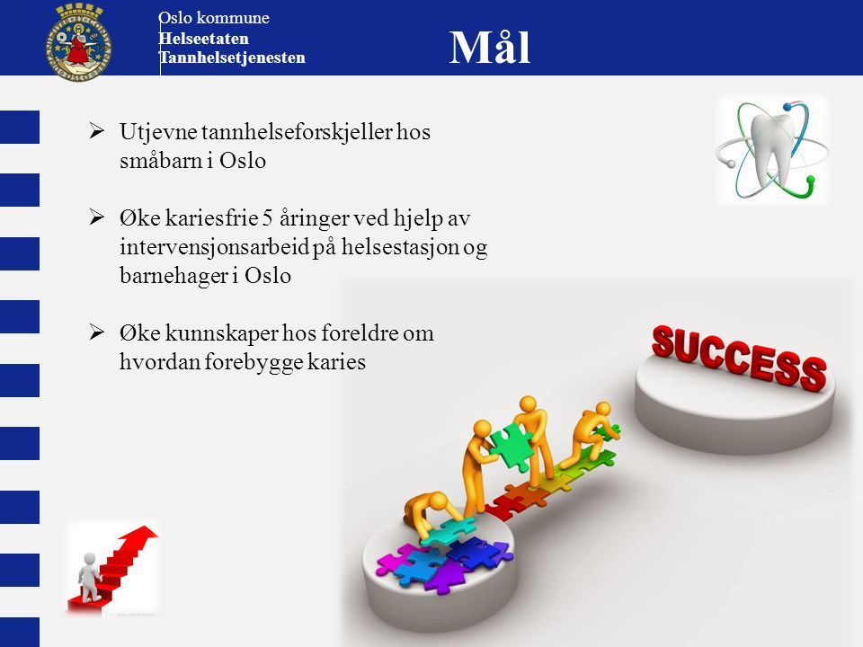 Oslo kommune Helseetaten Tannhelsetjenesten Mål  Utjevne tannhelseforskjeller hos småbarn i Oslo  Øke kariesfrie 5 åringer ved hjelp av intervensjon