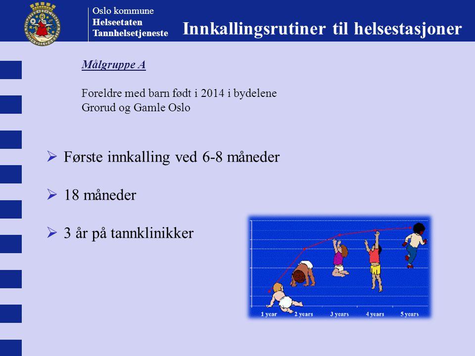 Oslo kommune Helseetaten Tannhelsetjeneste  Første innkalling ved 6-8 måneder  18 måneder  3 år på tannklinikker Innkallingsrutiner til helsestasjo