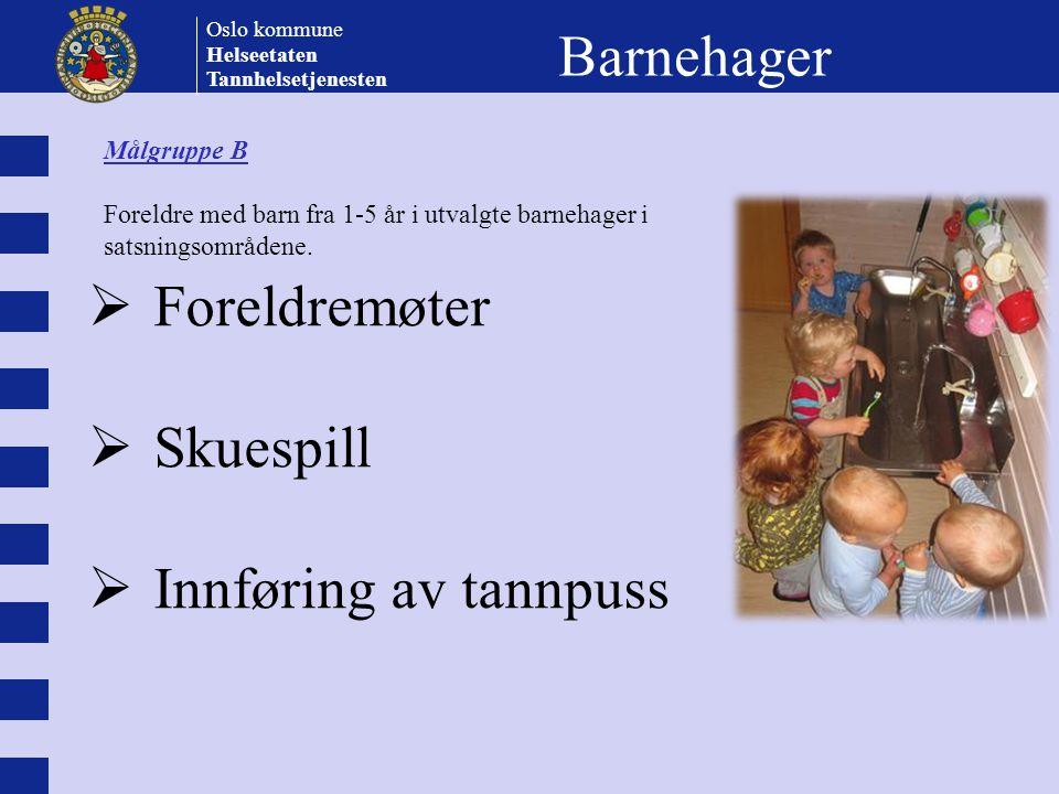Oslo kommune Helseetaten Tannhelsetjenesten Barnehager  Foreldremøter  Skuespill  Innføring av tannpuss Målgruppe B Foreldre med barn fra 1-5 år i