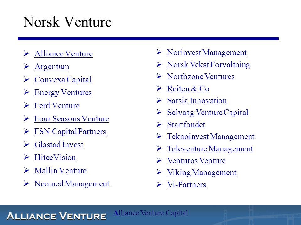 Alliance Venture Capital Norsk Venture  Alliance Venture Alliance Venture  Argentum Argentum  Convexa Capital Convexa Capital  Energy Ventures Ene
