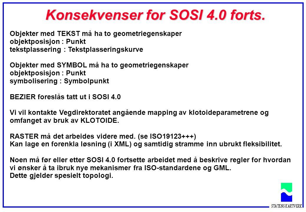 Konsekvenser for SOSI 4.0 forts.