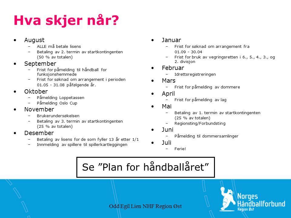 Odd Egil Lien NHF Region Øst Hva skjer når? August –ALLE må betale lisens –Betaling av 2. termin av startkontingenten (50 % av totalen) September –Fri