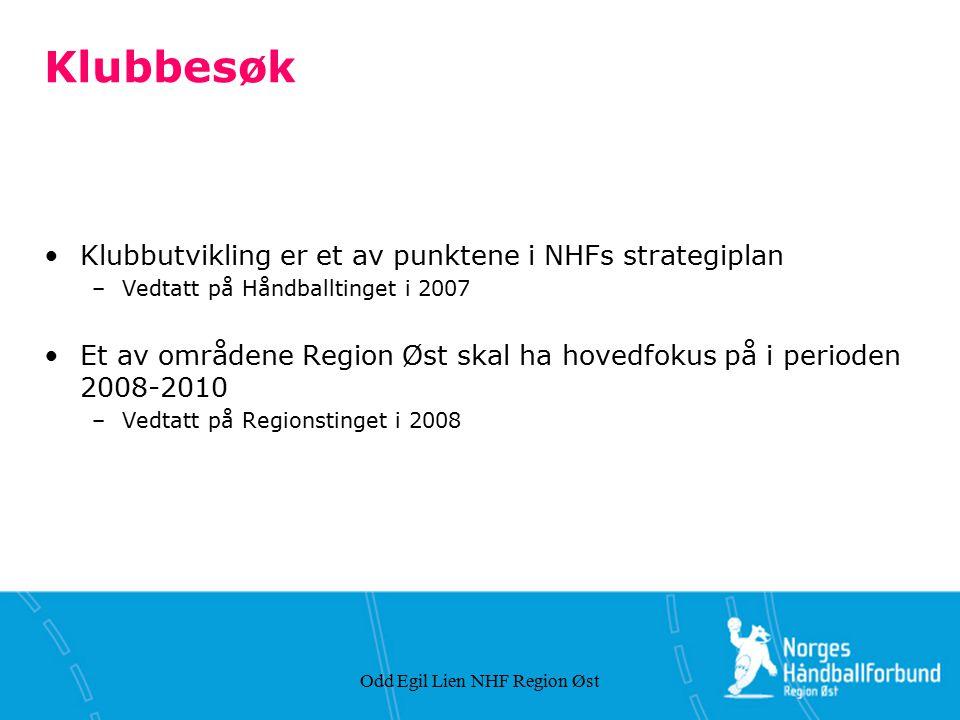 Odd Egil Lien NHF Region Øst Klubbesøk Klubbutvikling er et av punktene i NHFs strategiplan –Vedtatt på Håndballtinget i 2007 Et av områdene Region Øs