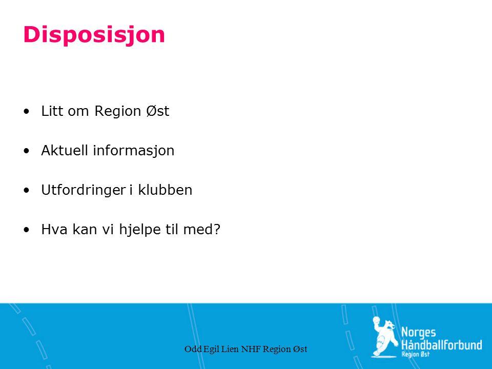 Odd Egil Lien NHF Region Øst Om NHF Region Øst Organiserer all håndballaktivitet i Akershus, Oslo og Østfold 134 klubber 1 713 spillende lag 727 dommere 17 200 kamper
