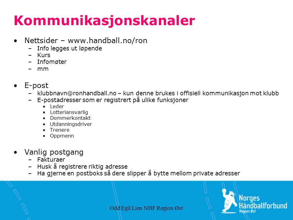 Odd Egil Lien NHF Region Øst Kommunikasjonskanaler Nettsider – www.handball.no/ron –Info legges ut løpende –Kurs –Infomøter –mm E-post –klubbnavn@ronh