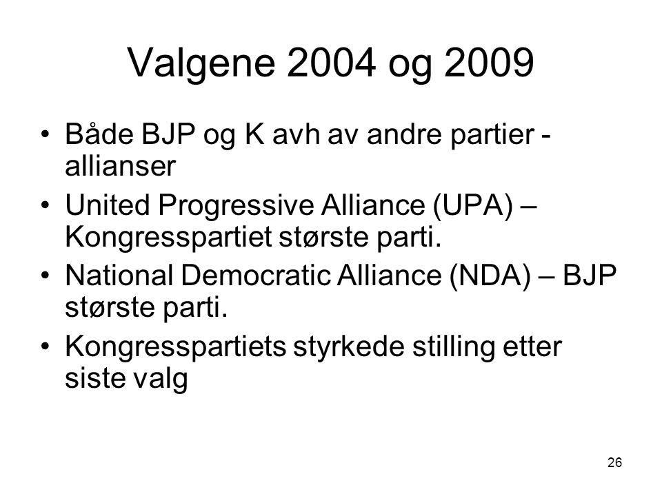 26 Valgene 2004 og 2009 Både BJP og K avh av andre partier - allianser United Progressive Alliance (UPA) – Kongresspartiet største parti. National Dem