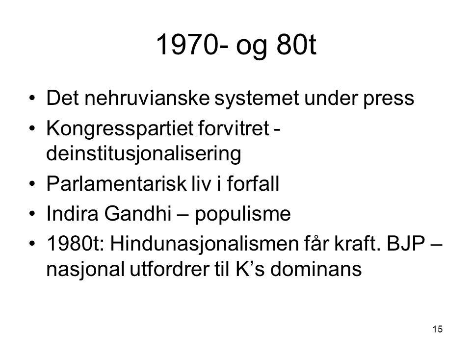 15 1970- og 80t Det nehruvianske systemet under press Kongresspartiet forvitret - deinstitusjonalisering Parlamentarisk liv i forfall Indira Gandhi – populisme 1980t: Hindunasjonalismen får kraft.