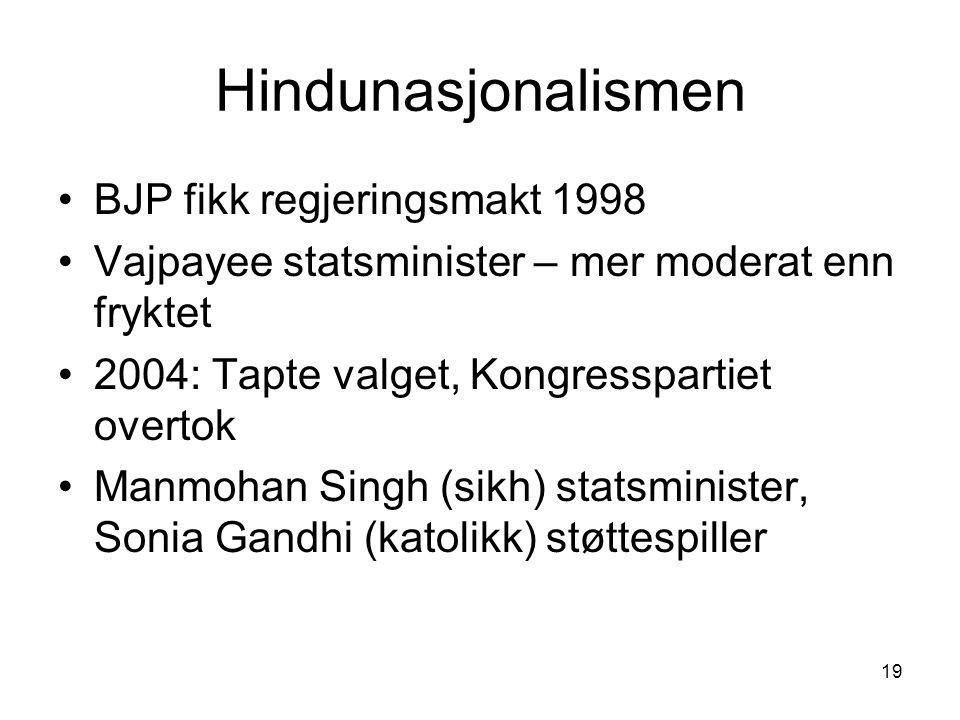 19 Hindunasjonalismen BJP fikk regjeringsmakt 1998 Vajpayee statsminister – mer moderat enn fryktet 2004: Tapte valget, Kongresspartiet overtok Manmohan Singh (sikh) statsminister, Sonia Gandhi (katolikk) støttespiller