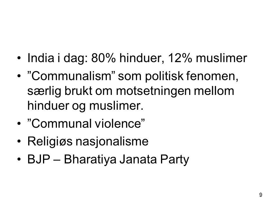 9 India i dag: 80% hinduer, 12% muslimer Communalism som politisk fenomen, særlig brukt om motsetningen mellom hinduer og muslimer.