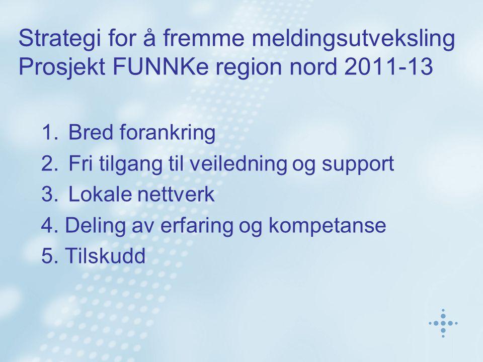 Strategi for å fremme meldingsutveksling Prosjekt FUNNKe region nord 2011-13 1.Bred forankring 2.Fri tilgang til veiledning og support 3.Lokale nettverk 4.
