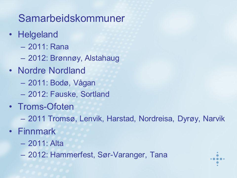 Samarbeidskommuner Helgeland –2011: Rana –2012: Brønnøy, Alstahaug Nordre Nordland –2011: Bodø, Vågan –2012: Fauske, Sortland Troms-Ofoten –2011 Tromsø, Lenvik, Harstad, Nordreisa, Dyrøy, Narvik Finnmark –2011: Alta –2012: Hammerfest, Sør-Varanger, Tana