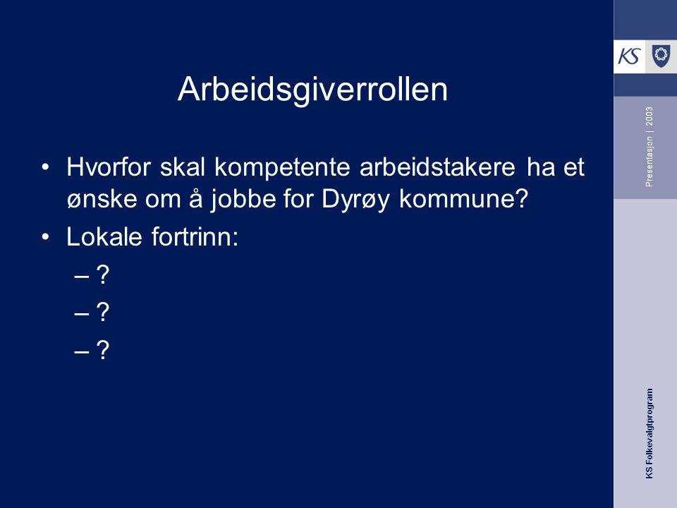 KS Folkevalgtprogram Presentasjon | 2003 Arbeidsgiverrollen Hvorfor skal kompetente arbeidstakere ha et ønske om å jobbe for Dyrøy kommune? Lokale for