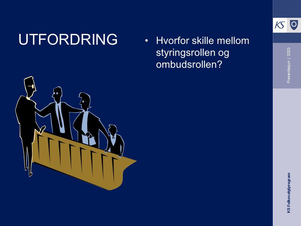 KS Folkevalgtprogram Presentasjon | 2003 UTFORDRING Hvorfor skille mellom styringsrollen og ombudsrollen?
