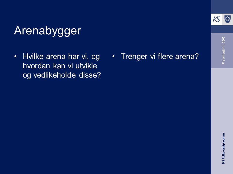 KS Folkevalgtprogram Presentasjon | 2003 Arenabygger Hvilke arena har vi, og hvordan kan vi utvikle og vedlikeholde disse? Trenger vi flere arena?