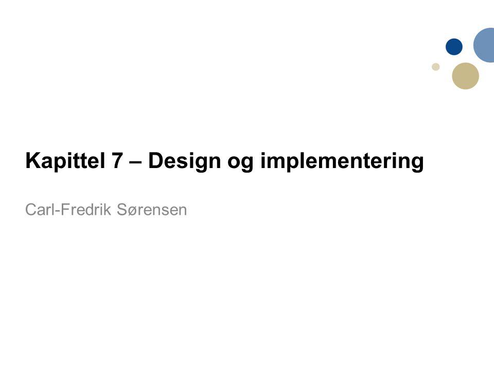 22 Prosess-steg Definere kontekst/sammenheng og bruksmodus for systemet; Designe systemarkitekturen; Identifisere de viktigste systemobjektene; Utvikle designmodeller; Spesifisere objektgrensesnitt/interface.