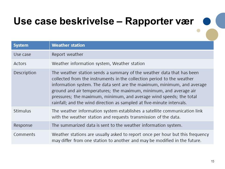 15 Use case beskrivelse – Rapporter vær SystemWeather station Use caseReport weather ActorsWeather information system, Weather station DescriptionThe