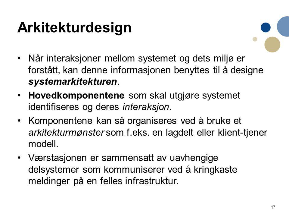 17 Arkitekturdesign Når interaksjoner mellom systemet og dets miljø er forstått, kan denne informasjonen benyttes til å designe systemarkitekturen. Ho