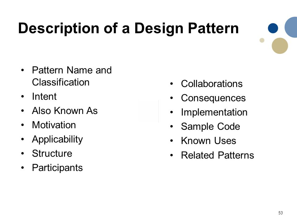 53 Description of a Design Pattern Pattern Name and Classification Intent Also Known As Motivation Applicability Structure Participants Collaborations
