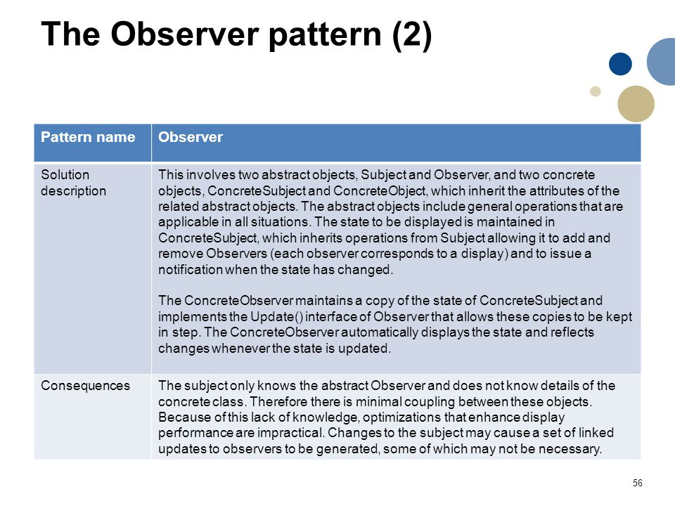 56 The Observer pattern (2) Pattern nameObserver Solution description This involves two abstract objects, Subject and Observer, and two concrete objec