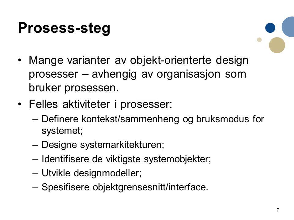 7 Prosess-steg Mange varianter av objekt-orienterte design prosesser – avhengig av organisasjon som bruker prosessen. Felles aktiviteter i prosesser:
