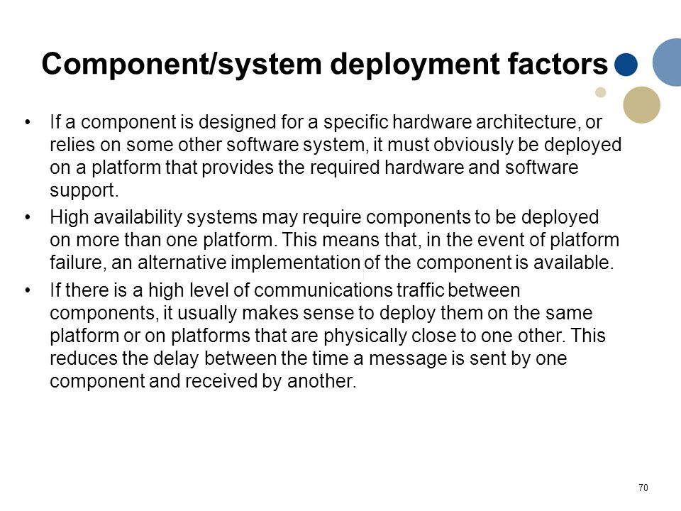 70 Component/system deployment factors If a component is designed for a specific hardware architecture, or relies on some other software system, it mu