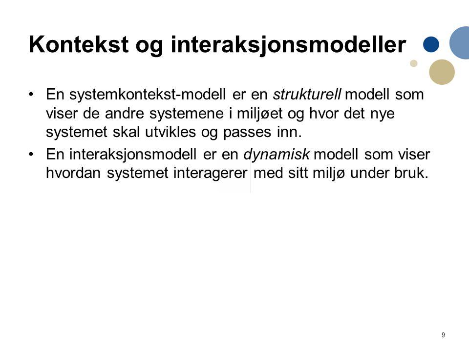 9 Kontekst og interaksjonsmodeller En systemkontekst-modell er en strukturell modell som viser de andre systemene i miljøet og hvor det nye systemet s