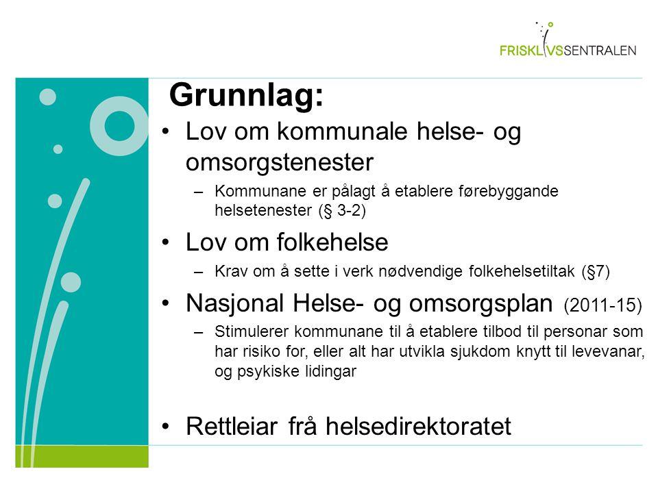 Grunnlag: Lov om kommunale helse- og omsorgstenester –Kommunane er pålagt å etablere førebyggande helsetenester (§ 3-2) Lov om folkehelse –Krav om å s