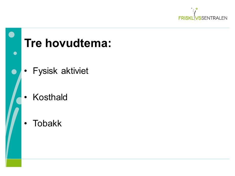 Fysisk aktiviet Kosthald Tobakk Tre hovudtema: