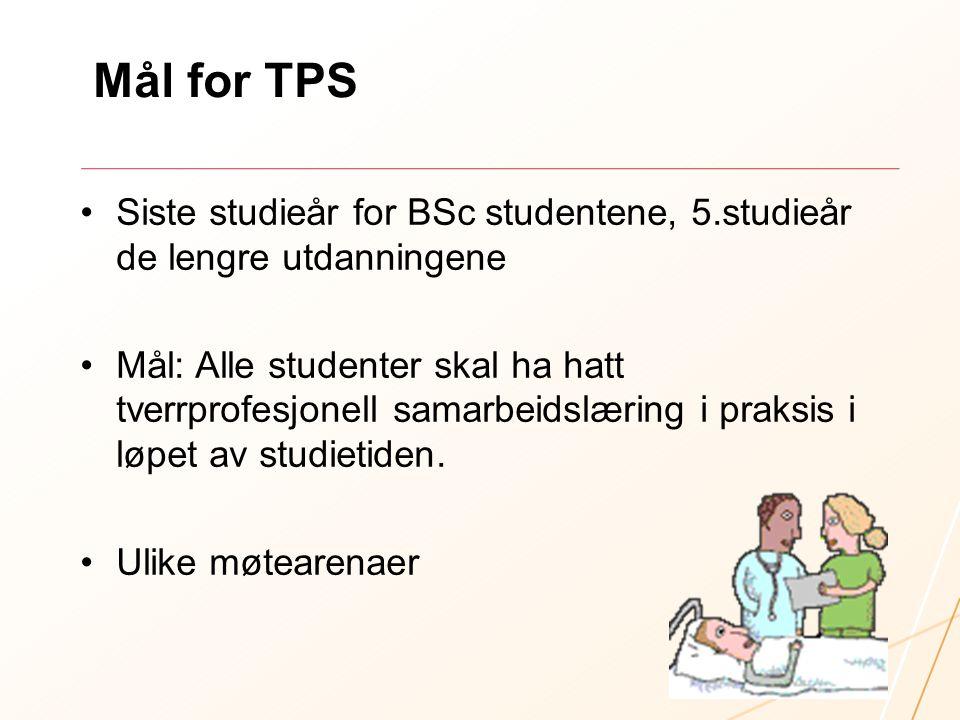 Mål for TPS Siste studieår for BSc studentene, 5.studieår de lengre utdanningene Mål: Alle studenter skal ha hatt tverrprofesjonell samarbeidslæring i
