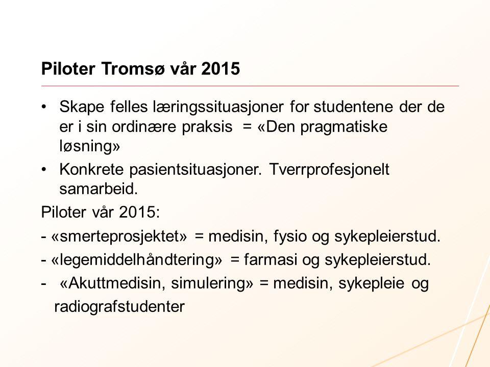 Piloter Tromsø vår 2015 Skape felles læringssituasjoner for studentene der de er i sin ordinære praksis = «Den pragmatiske løsning» Konkrete pasientsi