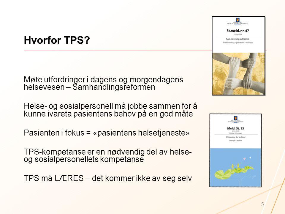 Hvorfor TPS? Møte utfordringer i dagens og morgendagens helsevesen – Samhandlingsreformen Helse- og sosialpersonell må jobbe sammen for å kunne ivaret