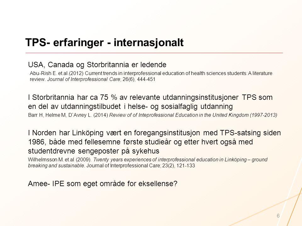 TPS- erfaringer - internasjonalt USA, Canada og Storbritannia er ledende Abu-Rish E. et.al.(2012) Current trends in interprofessional education of hea