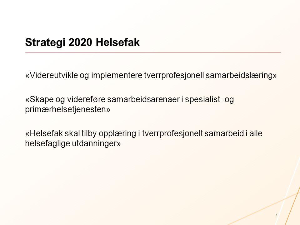 Strategi 2020 Helsefak «Videreutvikle og implementere tverrprofesjonell samarbeidslæring» «Skape og videreføre samarbeidsarenaer i spesialist- og prim