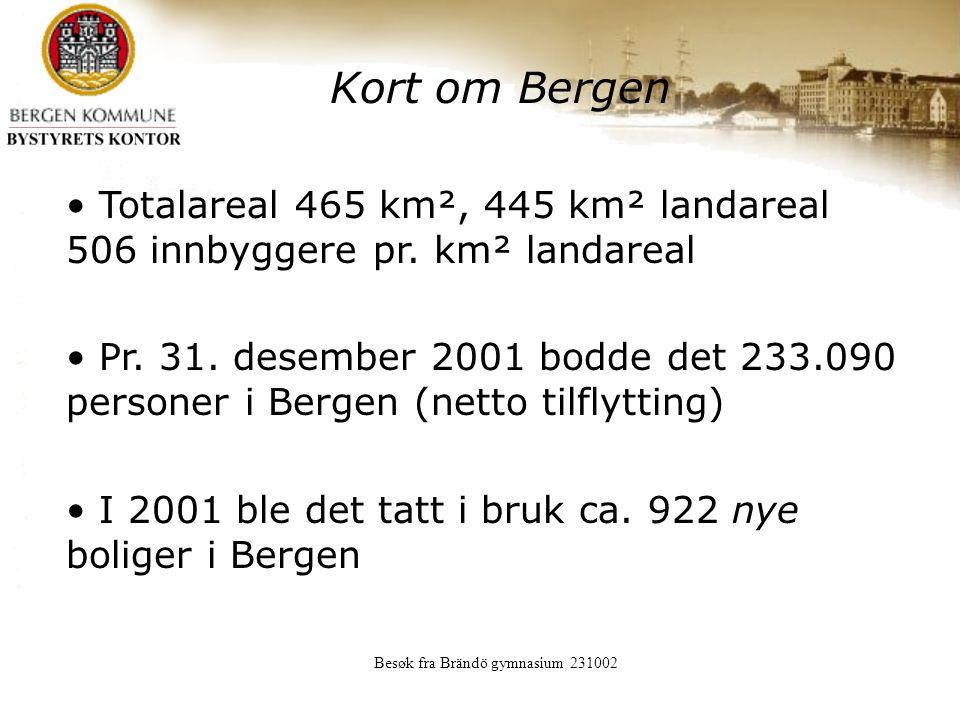 Besøk fra Brändö gymnasium 231002 Kort om Bergen Totalareal 465 km², 445 km² landareal 506 innbyggere pr.