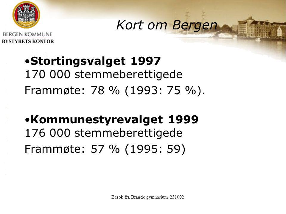 Besøk fra Brändö gymnasium 231002 Kort om Bergen Stortingsvalget 1997 170 000 stemmeberettigede Frammøte: 78 % (1993: 75 %).