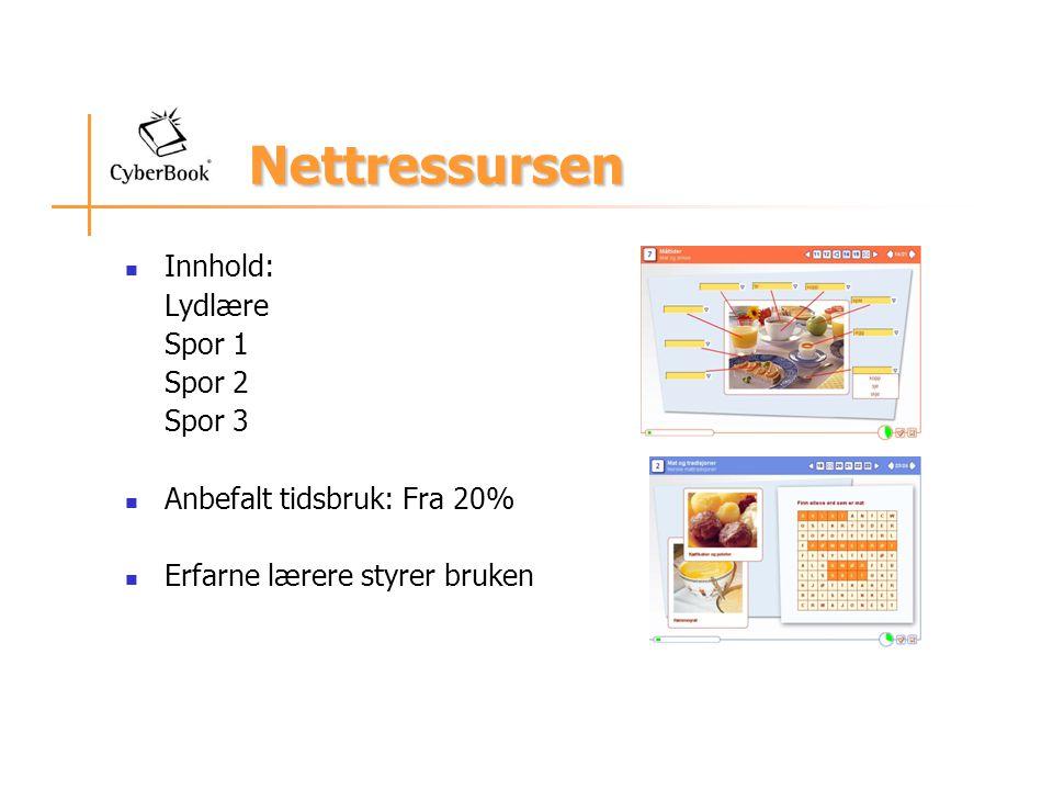 Nettressursen Innhold: Lydlære Spor 1 Spor 2 Spor 3 Anbefalt tidsbruk: Fra 20% Erfarne lærere styrer bruken