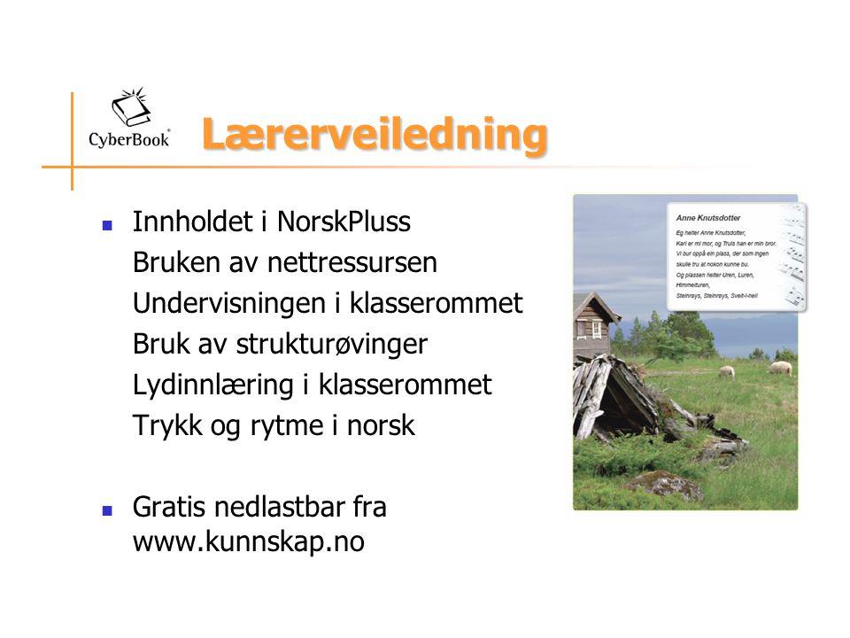 Lærerveiledning Innholdet i NorskPluss Bruken av nettressursen Undervisningen i klasserommet Bruk av strukturøvinger Lydinnlæring i klasserommet Trykk
