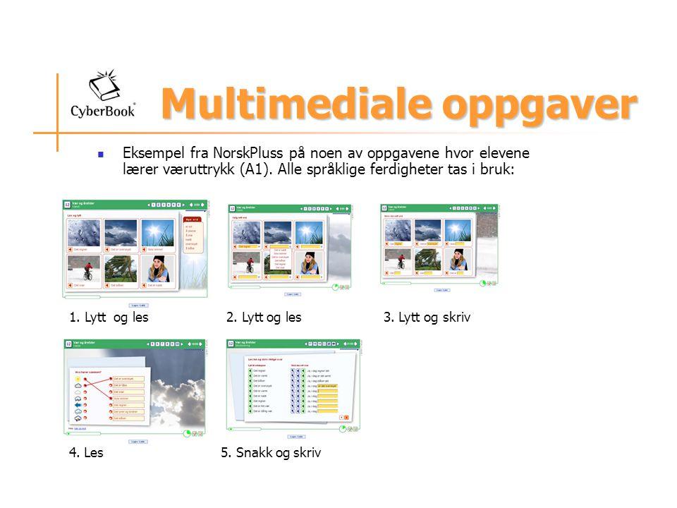Multimediale oppgaver Eksempel fra NorskPluss på noen av oppgavene hvor elevene lærer væruttrykk (A1). Alle språklige ferdigheter tas i bruk: 1. Lytt