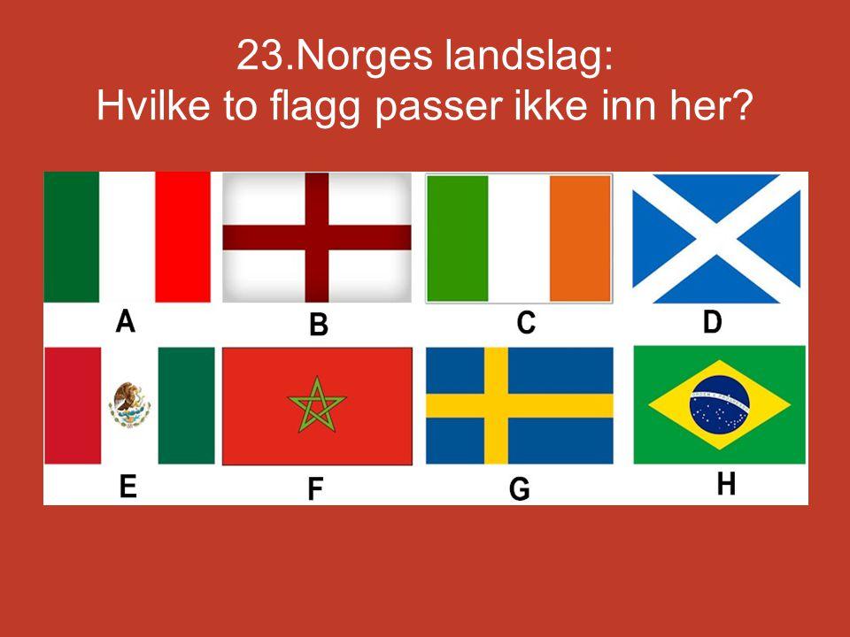 23.Norges landslag: Hvilke to flagg passer ikke inn her?