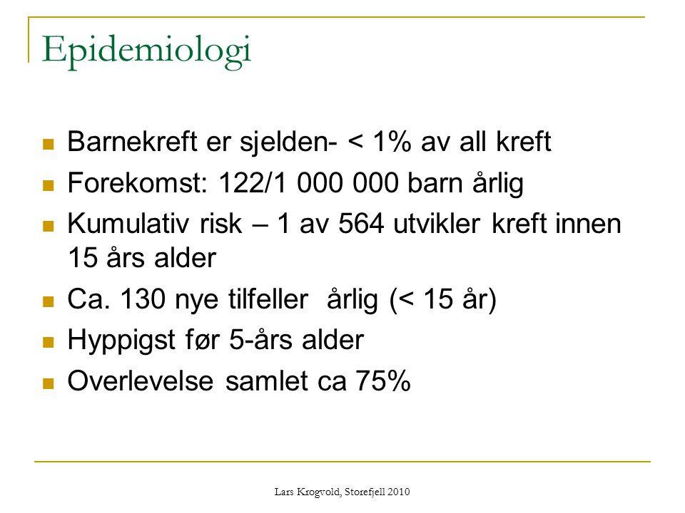 Lars Krogvold, Storefjell 2010 Epidemiologi Barnekreft er sjelden- < 1% av all kreft Forekomst: 122/1 000 000 barn årlig Kumulativ risk – 1 av 564 utv