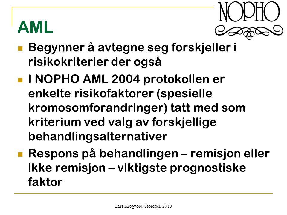 Lars Krogvold, Storefjell 2010 AML Begynner å avtegne seg forskjeller i risikokriterier der også I NOPHO AML 2004 protokollen er enkelte risikofaktore