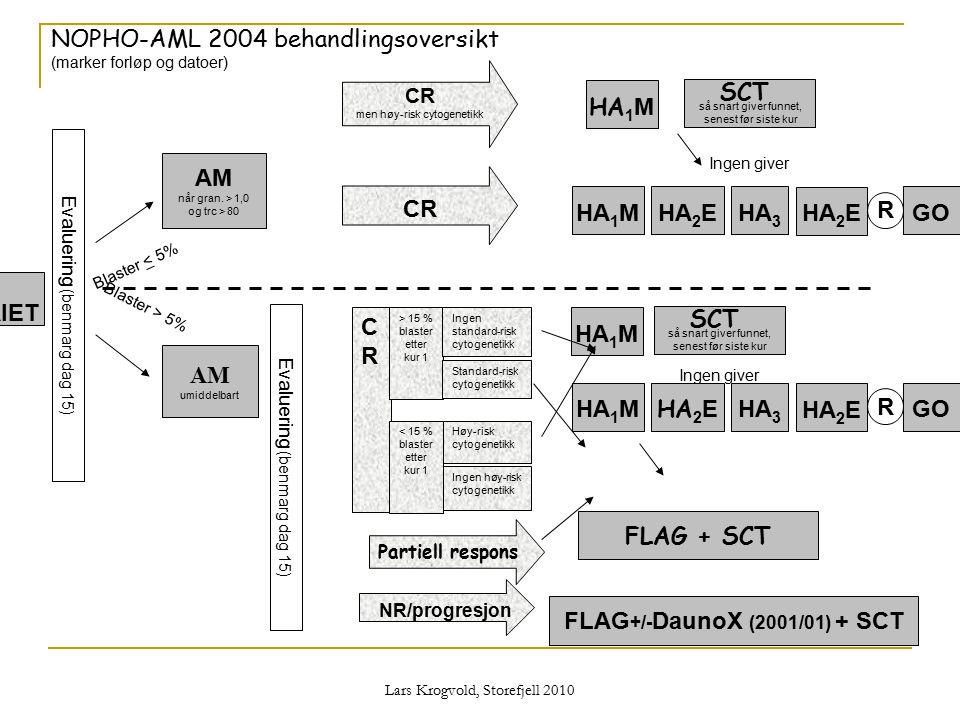 Lars Krogvold, Storefjell 2010 NOPHO-AML 2004 behandlingsoversikt (marker forløp og datoer) NR/progresjon Partiell respons CR men høy-risk cytogenetik